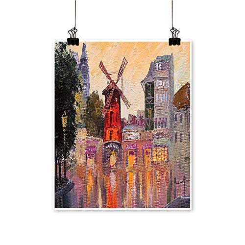 - Rich in Color Painting of Moulin Rouge in Paris City Centre of Love Vintage Print Decor for Living Room,32