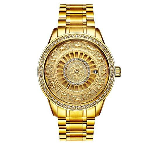 TEVISE Men Watch Automatic Mechanical Diamond-mounting Waterproof Male Watch Wristwatch for Men 9055G12,Gold