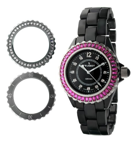 00BK Ceramic Watch with Two Interchangeable Swarovski Crystal Bezel Covers (Quartz Set Wrist Watch)