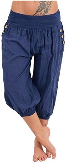 VITryst Women's Mid-waist Plus-Size Loose Solid Color 3/4 Length Harem Pants