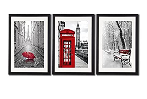 Black White And Red Wall Art Print Posters Eiffel Tower Decor Big Ben Art Wall Picture Snow Photos For Home Office Decoration 3 Piece Black Framed London Paris Painting Printed On Canvas White - Snow White Pictures