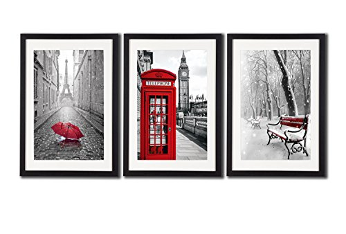 Amazon com black white and red wall art print posters eiffel tower decor big ben art wall picture snow photos for home office decoration 3 piece black
