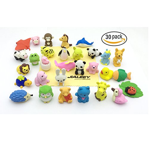 Jialeey 30 Puzzle Take Apart Animals Erasers Collectible Set of Adorable Japanese Style Novelty Pencil Eraser Toys Variety with No Duplicates Gift Party Favors Games for Kids (Cute Cheap Halloween Food Ideas)