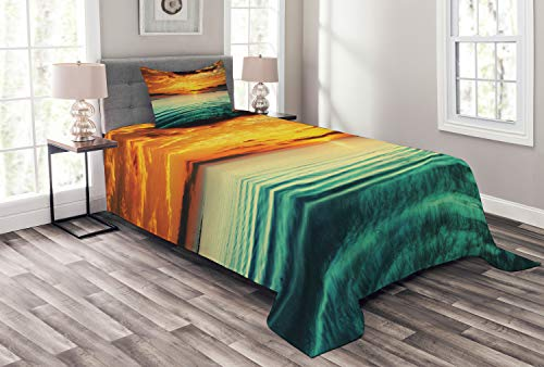 Lunarable Ocean Bedspread, Sunset at Bay Small Boat at a Distance Tranquil Sea Slightly Surges Image, Decorative Quilted 2 Piece Coverlet Set with Pillow Sham, Twin Size, Orange Green
