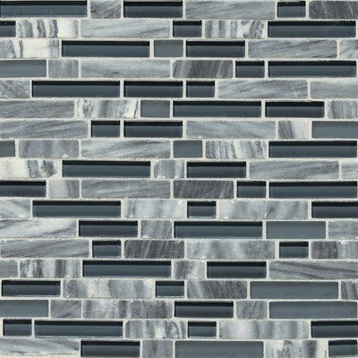 Stone Radiance Glacier Gray 11-3/4 in. x 12-1/2 in. Glass and Stone Mosaic Blend Wall Tile