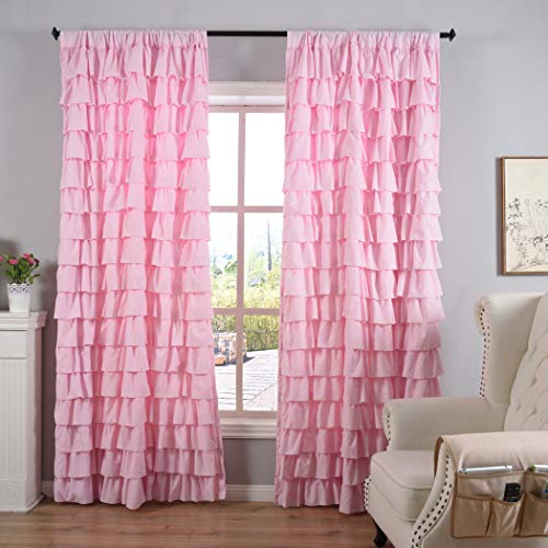Kotile Rod Pocket Ruffled Layer Drapes for Girls Room by Soft and Light Shaby Chic Curtains, 1 Panel 84 Inch Long Wave Patten Pleated Curtain for Living Room, Pink (Curtains Ruffle Coral)