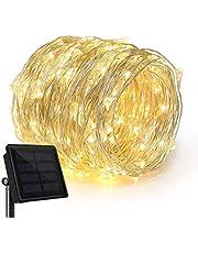 2 حزمة الشمسية بالطاقة سلسلة الأنوار، 100 ليد الأسلاك النحاسية الإضاءة، النجوم سلسلة ضوء، ماء الشمسية مصباح الديكور للحدائق، المنزل، الرقص، حزب (دافئ الأبيض)