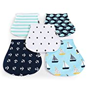 Baby Burp Cloths for Boys and Girls Premium Durable 5 Pack, 19 x 9 , Triple Layer, 100% Organic Cotton Burp Cloth, Soft, Comfortable and Absorbing Burping Cloths, Burp Rags for Newborns, Baby Shower