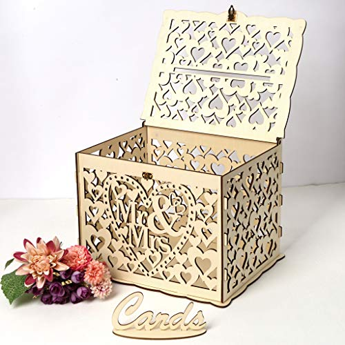 RINKOUa Wedding Card Boxes Hollow Out Handmade Wodden Bridal Card Holder Table Decoration Best Wishes Gifts for Mother's Day (Mr & Mrs)