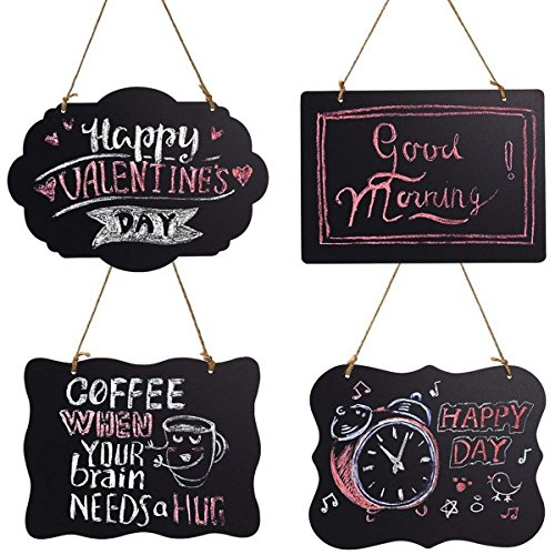 Homemaxs Chalkboard Sign Double-Sided Message Board with Hanging String - 4 Pack -