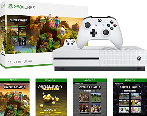 (Microsoft Xbox One S 1TB Minecraft Creators Bundle with Minecraft Creeper Wireless Controller | 4K Ultra HD Blu-ray | Xbox One S 1TB Storage Console | Wireless Controller | Minecraft Game)