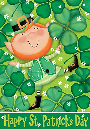 Lucky Shamrock Flag (Lucky Leprechaun St. Patrick's Day House Flag Shamrocks Irish 28