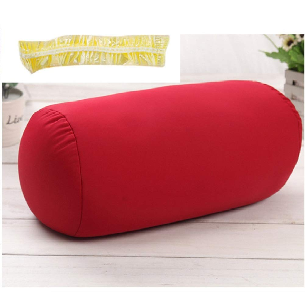 DAYNECETY Microbead Neck Roll Pillow Travel Beanie Pillow Mcro Bead Bolster Lumbar Back Support Pillow Cushions Massage Bolster Column Travel Sleeping Bath Bed Yoga Foot- Leg-Rests Roll For Chairs Sofa(Black)