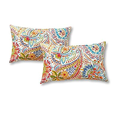 Greendale Home Fashions Rectangle Outdoor Accent Pillows in Painted Paisley (Set of 2), Jamboree - Set includes two 19 x 12 inch accent pillows 100% polyester, UV-resistant outdoor fabric Poly fiber fill made from 100-percent recycled, post-consumer plastic bottle - patio, outdoor-throw-pillows, outdoor-decor - 51DkekZcmxL. SS400  -