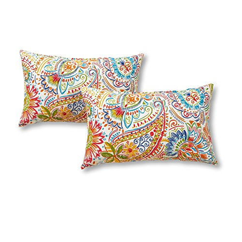 Greendale Home Fashions Rectangle Outdoor Accent Pillows, Set of Two in Painted Paisley, Jamboree (Outdoor Pillows Rectangular)