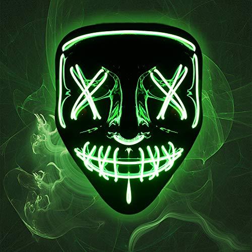 ZeeDix Halloween LED Light Up Mask- Adjustable Scary Lighting Mask for Rave Masquerade Festival Cosplay Halloween Costume
