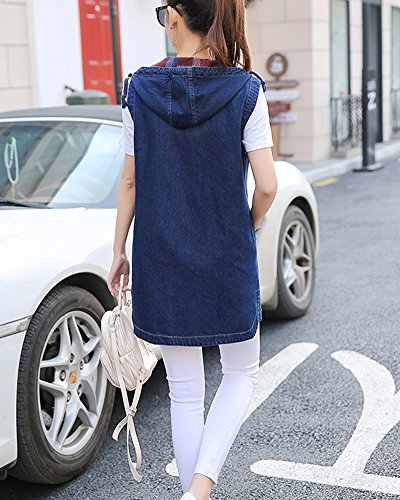 Jacket Manches Veste Simple Cappuccio Con Lungo Gilet sans Image Denim Femme Comme Denim qZRwCC