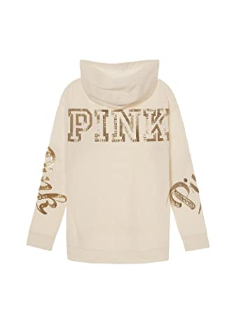 b95c8ab666e VS PINK Victoria s Secret Pink Bling Sequin Hoodie Sweatshirt Ivory - Small