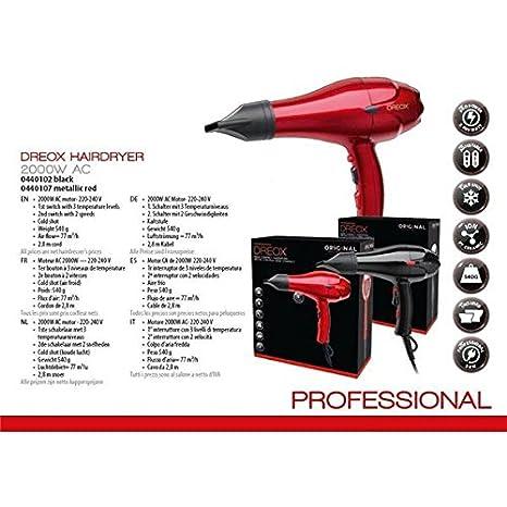 Dreox Professional-Secador de pelo profesional con iones 2000 W comptact semi Pro-Secador de pelo, color negro: Amazon.es: Salud y cuidado personal