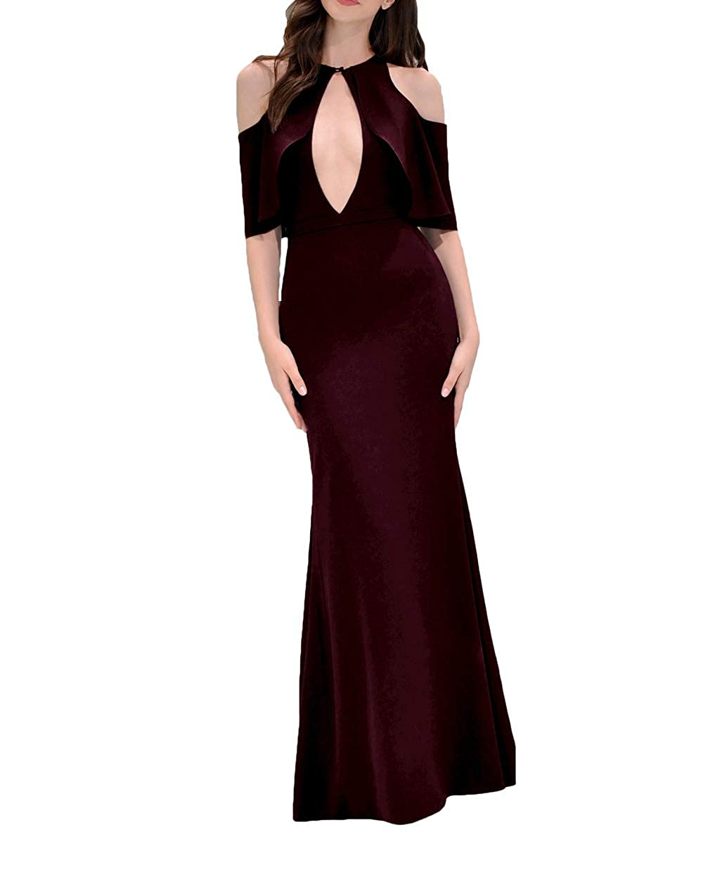 Dark Brown alilith.Z Sexy Keyhole Neck Mermaid Prom Dresses Ruffles Half Sleeves Formal Evening Dress Party Gowns for Women 2019 Long