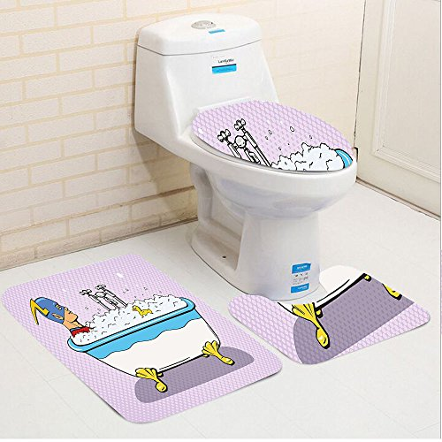 Keshia Dwete three-piece toilet seat pad customComics Superhero Fast Furious Relaxing in Bubble Bath Shower with Rubber Duck Artwork Multicolor