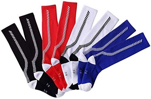 スポーツソックス 靴下 子供用スポーツソックス厚手のタオルボトムサッカーソックス膝上滑り止めストッキング (Color : Black, Size : 4-6age)