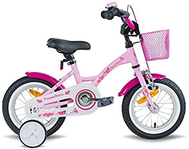 prometheus bicycles prometheus kinderfahrrad 12 zoll m dchen in rosa lila wei mit st tzr dern. Black Bedroom Furniture Sets. Home Design Ideas