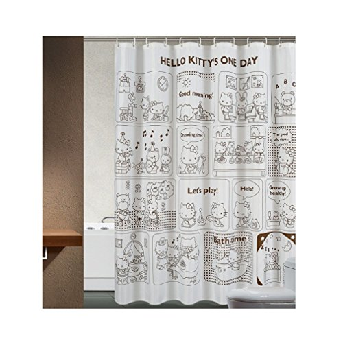 Efivs Arts Waterproof Anti-mildew Shower Curtain with Hooks 72-inch By 72-inch Hello Kitty's One Day Pattern