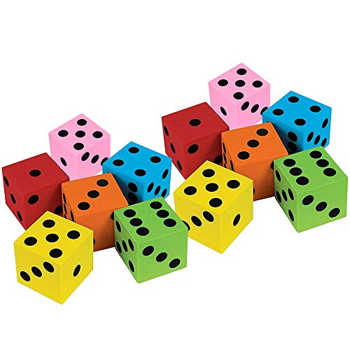 Kidsco Foam Dices Assortment - Assorted Colors - 24 Pack Traditional Style Learning Resources for Math Teaching