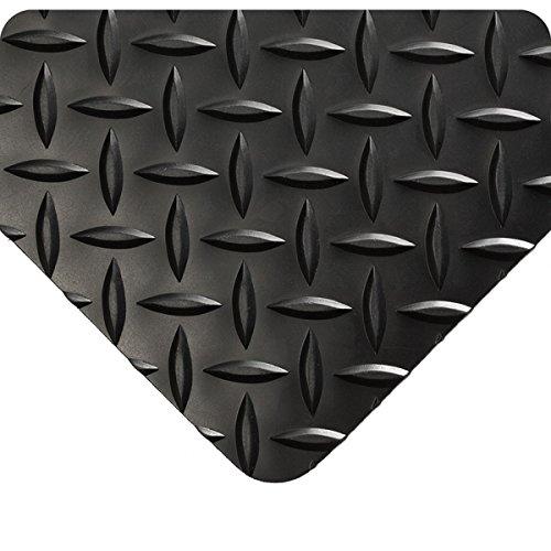 (Wearwell 385.316x2x3BK Diamond-Plate Runner Mat, 3' Length x 2' Width x 3/16