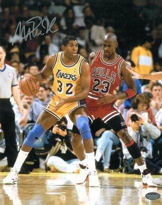 Autographed Johnson Photo - 16x20 vs Michael Jordan - Autographed NBA Photos