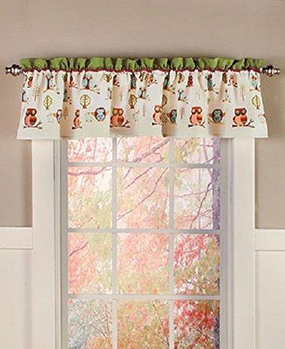 Owl Theme Window Treatment Valance Woodland Cabin Lodge Home Decor Polyester