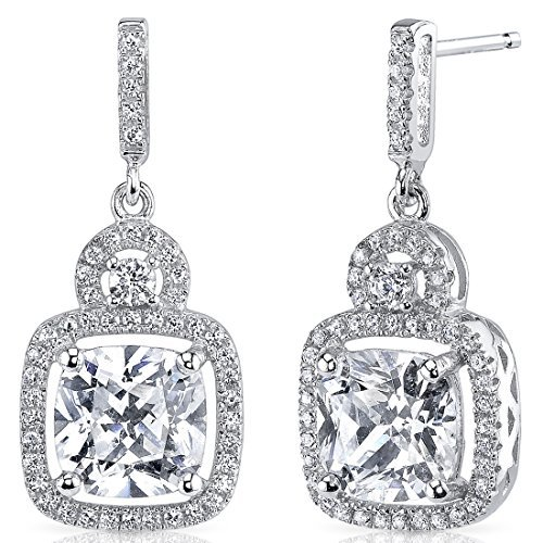 Sterling Silver Halo Style Cushion and Round Cut 2.95 Carats Cubic Zirconia Earrings by Peora