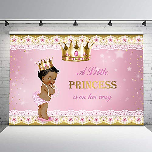 Mehofoto Pink and Gold Baby Shower Backdrop Ethnic Little Princess Gold Grown Photography Background 7x5ft Pink Floral Glitter Star Pearl Backdrops for Girl Baby Shower Decorations
