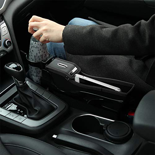 KMMOTORS 'S' Line Coin Side Pocket, Console Side Pocket, Car Organizer (General(with cupholder), Black)