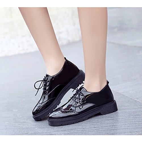 Retro Comfy Shoes Round Fashion up Toe Low Lace Shoes Women's Black Oxfords Perforated JULY Heel T xq6wBB