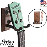 String Swing Ukulele Wall Mount Adhesive Stand for Mandolin Ukele ? Concert Pineapple Soprano Tenor and Baritone Compatible ? Case Alternative Kit for Home or Studio - Black Walnut Hardwood CC62UK-BW