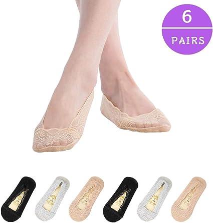 5 Pairs Women Lace Boat Socks Non-slip Ankle Socks Invisible Socks