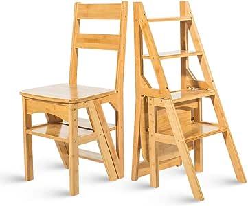 Escalera de bambú Sillas Sillas Escalera Plegable Fip Taburete Escaleras multifuncionales Silla de Comedor Estante Decorativo para el hogar o Escalera Escalera: Amazon.es: Hogar