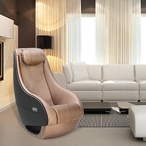 (KUPPET OTO Full Body Shiatsu Massage Chair Fully Assembled Deluxe PU Curved Recliner Video Gaming Shiatsu Gold)