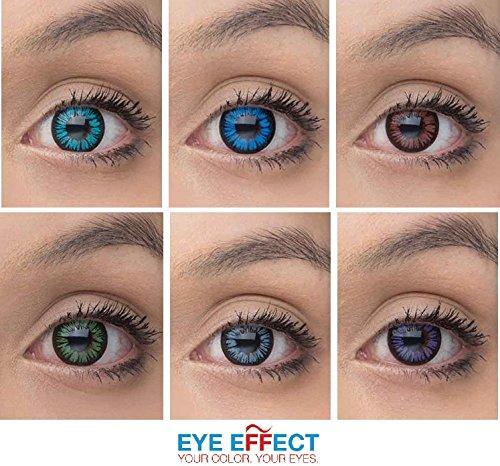 Eye Effect farbige Kontaktlinsen in vielen Farben für schöne natürlich Augen + gratis Kontaktlinsenbehälter (Blau Aqua)
