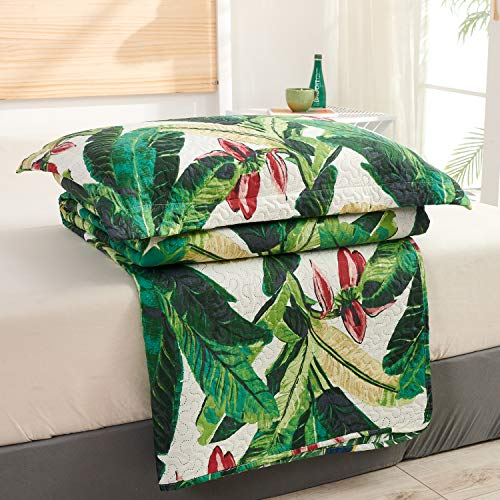 Tropical Rainforest Summer Quilt Set King Size Green Leaf Bedding Set Lightweight Reversible Botanical Flower Bedspread Coverlet with Sham Soft Breathable Bed Set, 1 Quilt and 2 Pillowshams