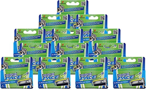 Dorco Pace 6 Plus- Six Blade Razor System with Trimmer - 52 Pack Refill (No Handle) by DORCO