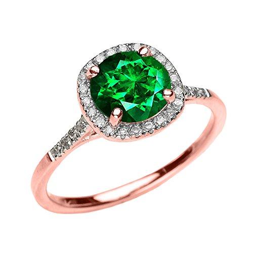 Bague Femme/ Bague De Fiançailles 10 Ct Or Rose Diamant Et Vert Emeraude