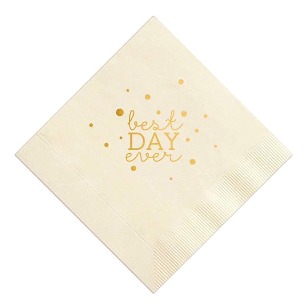 Best Day Ever Wedding Napkins (Ivory/Gold)