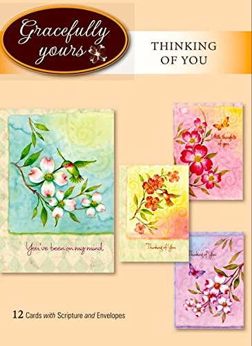 Gracefully Yours Grace to You Thinking of You Greeting Cards featuring Tina Wenke, 12, 4 designs/3 each with Scripture Message