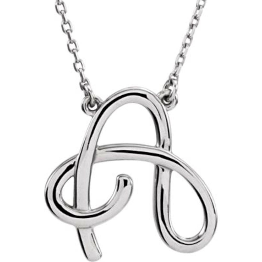 Bonyak Jewelry Sterling Silver K Script Initial 16 Necklace