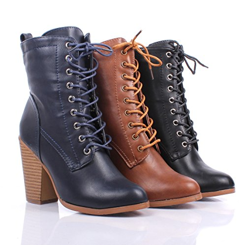 Fashion Faux Leather Lace up Zippers Ankle-high Chunky Heels Womens Combat Boots Winter Shoes New Without Box