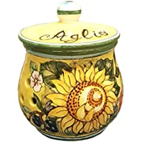 CERAMICHE D'ARTE PARRINI- Italian Ceramic Brings Garlic Jar Holder Hand Painted Decorated Sunflower Made in ITALY Tuscan Art Pottery