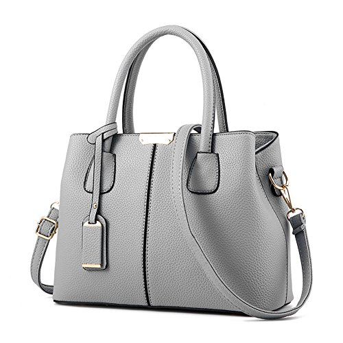 Purses For Women (Covelin Women's Top-handle Cross Body Handbag Middle Size Purse Durable Leather Tote Bag Grey)